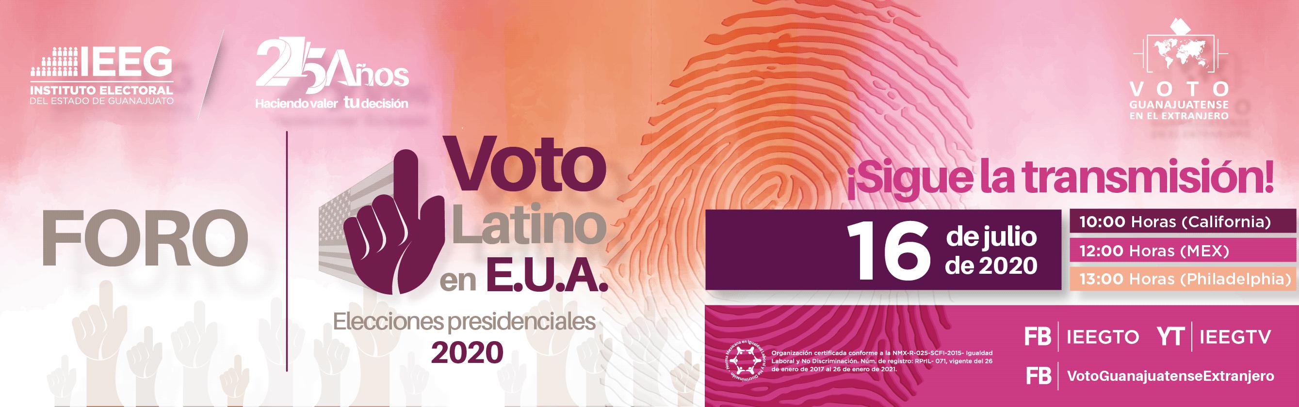 Foro Voto latino en e.u.a. elecciones presidenciales 2020. Sigue la transmisión este 16 de julio a traves de nuestras redes sociales. A las 12 horas en mexico. A las 10 horas en california. A las 13 horas en philadelphia.