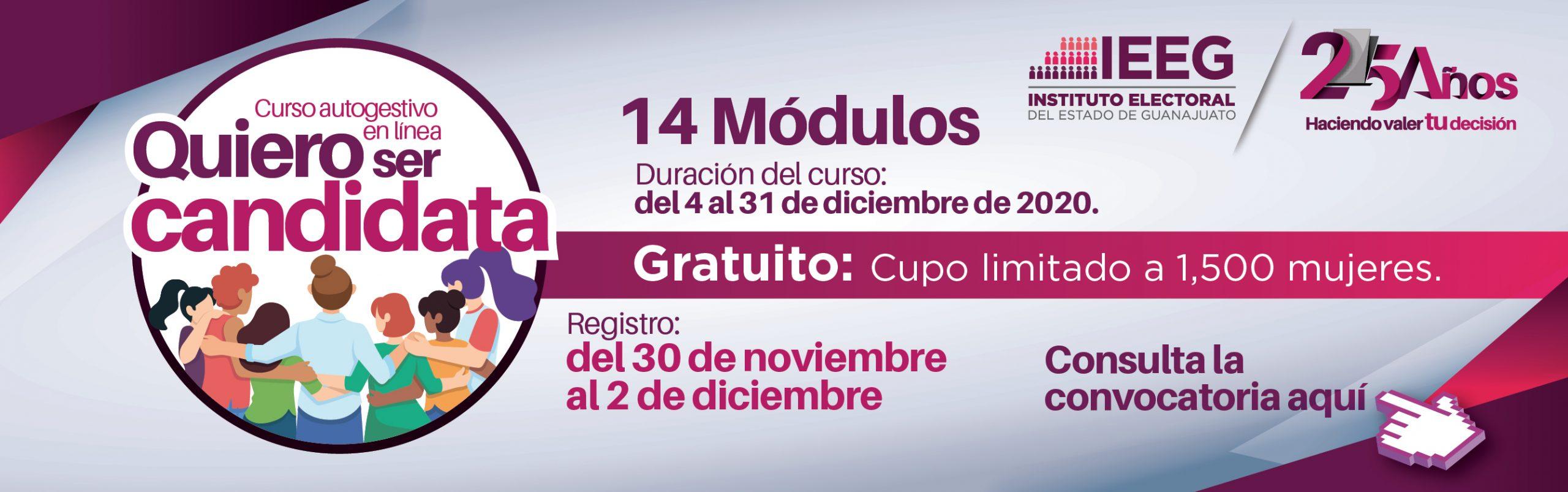 Convocatoria curso quiero ser candidata. Registro del 30 de noviembre al 2 de diciembre. Da clic aquí para más información