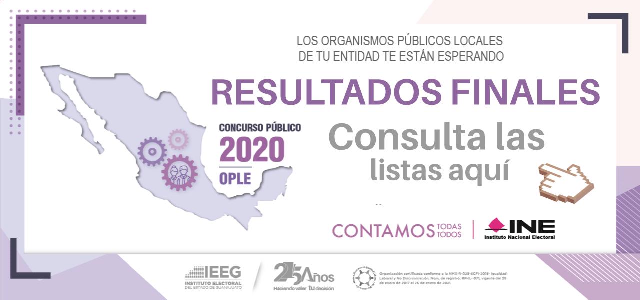 Resultados de la convocatoria OPLES 2020