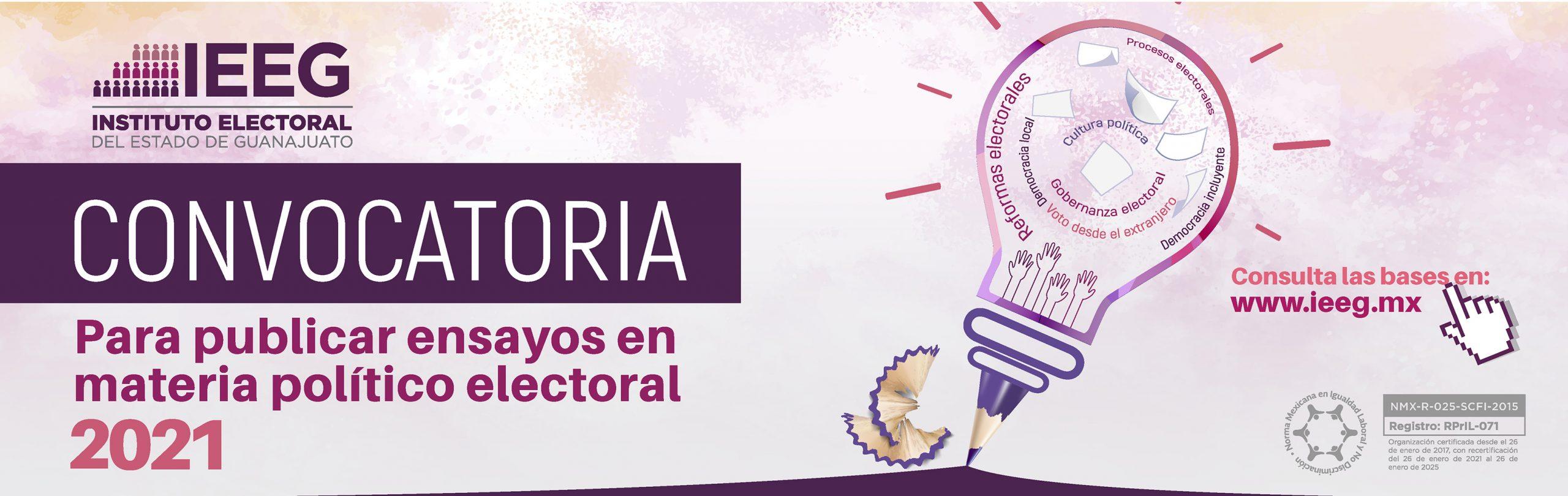 Convocatoria para publicar ensayos en materia político electoral 2021