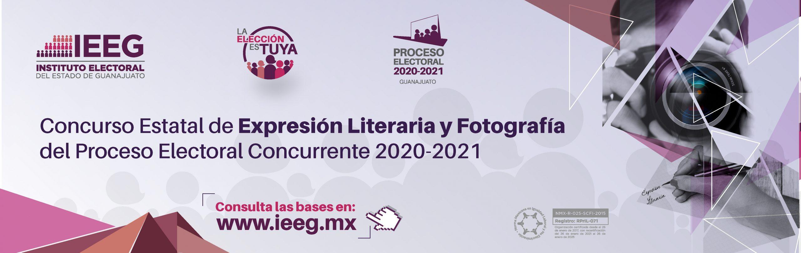 Concurso Estatal de Expresión Literaria y Fotografía del Proceso Electoral Concurrente 2020-2021. Da clic para más información