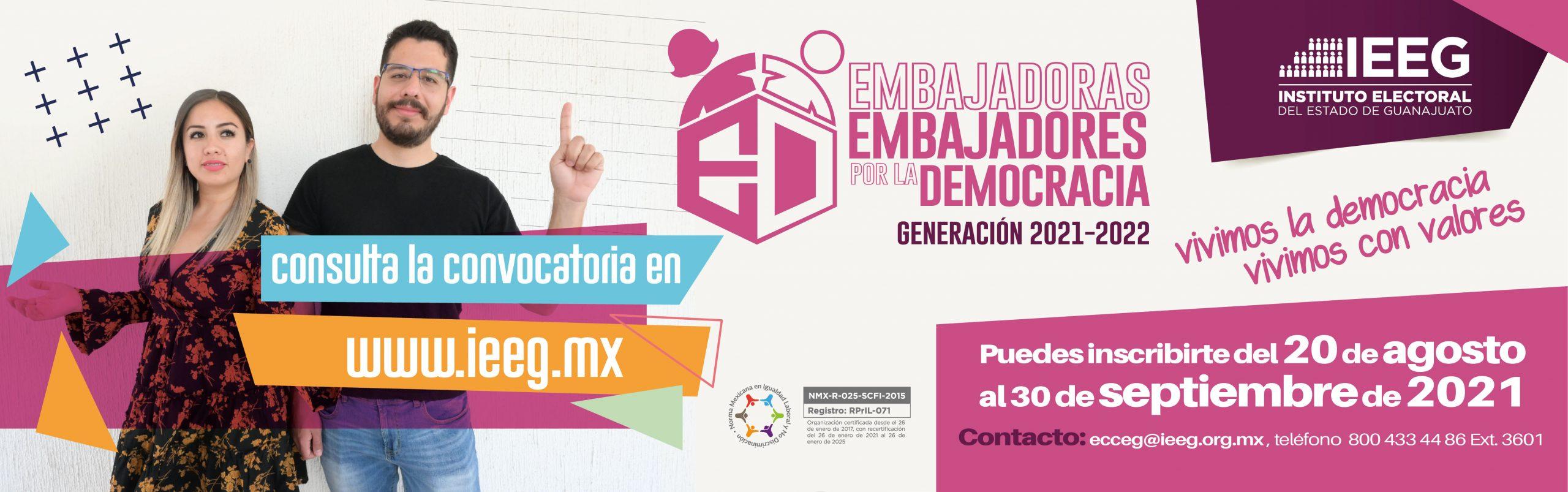 Convocatoria embajadores por la democracia 2021 - 2022. Da clic para más información
